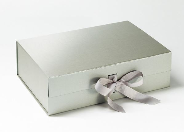 Silver A4 Luxury Magnetic Gift Box with Ribbon front