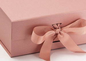 Rose Gold A5 Luxury Magnetic Gift Box with Ribbon detail