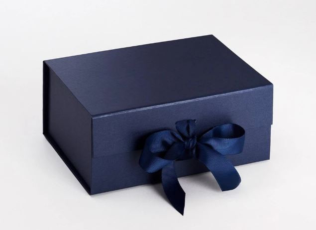 Navy Blue A5 Luxury Magnetic Gift Box with Ribbon front