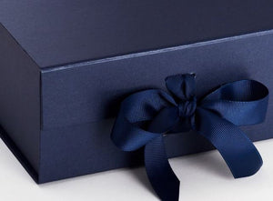 Navy Blue A5 Luxury Magnetic Gift Box with Ribbon detail