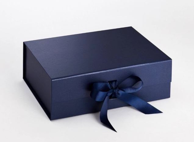 Navy Blue A4 Luxury Magnetic Gift Box with Ribbon front