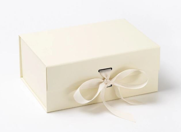 Ivory A5 Luxury Magnetic Gift Box with Ribbon front