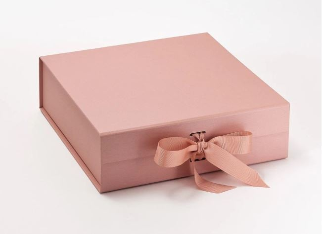 Rose Gold Large Luxury Square Hamper Gift Box with Ribbon front