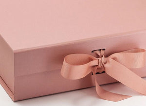 Rose Gold Large Luxury Square Hamper Gift Box with Ribbon detail