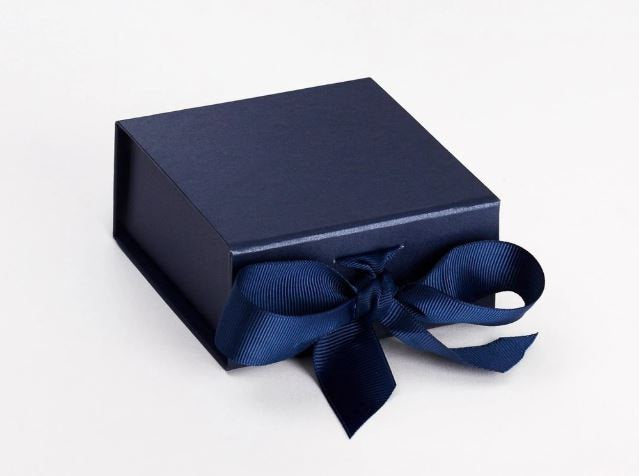Navy Blue Small Luxury Magnetic Gift Box with Ribbon front