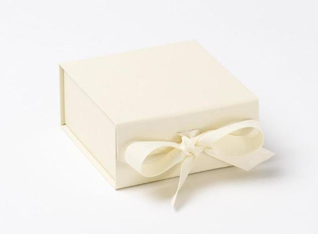 Ivory Small Luxury Magnetic Gift Box with ribbon front