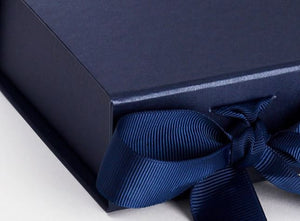 Navy Blue Small Luxury Magnetic Gift Box with Ribbon detail