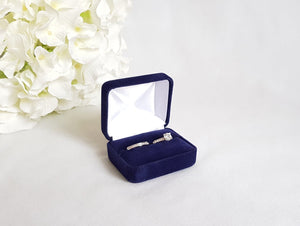 Navy Blue Velvet Double Ring Box 4