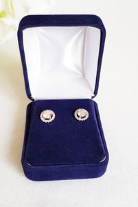 Navy Blue Velvet Earring Box front