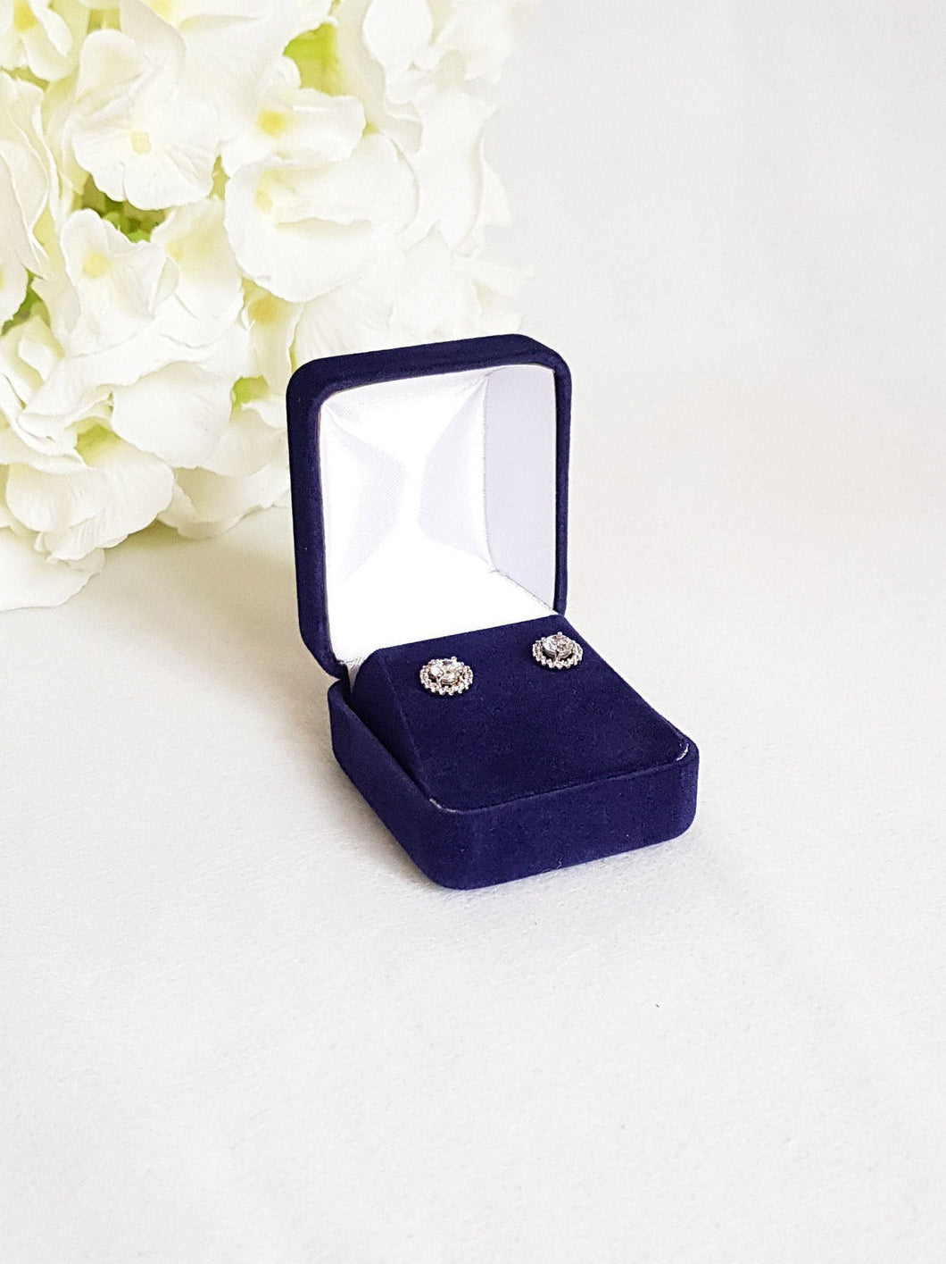 Navy Blue Velvet Earring Box title