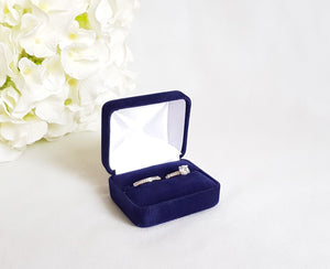 Navy Blue Velvet Double Ring Box 1