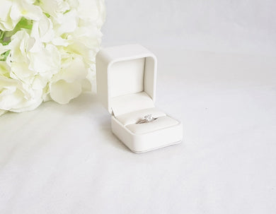 White Leatherette Single Ring Box title
