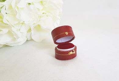 Burgundy Vintage Style Traditional Heirloom Single Ring Box title
