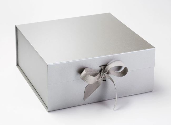 Silver Extra Large Luxury Magnetic Gift Box with Ribbon front