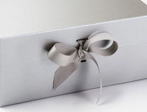 Silver Extra Large Luxury Magnetic Gift Box with Ribbon detail