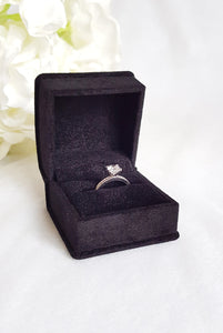Black Luxury Suede Single Ring Box zoom2