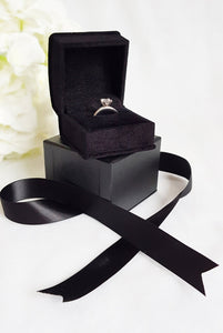 Black Luxury Suede Single Ring Box stack