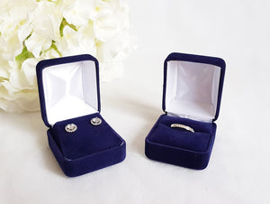 Navy Blue Velvet Earring Box with ring box
