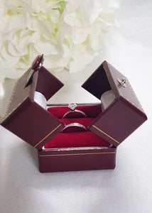 Red Double Door Leatherette Traditional Style Double Ring Box 4