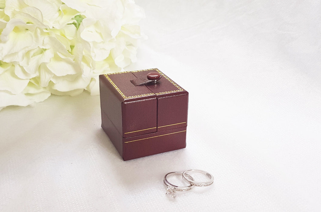 Red Double Door Leatherette Traditional Style Double Ring Box 1