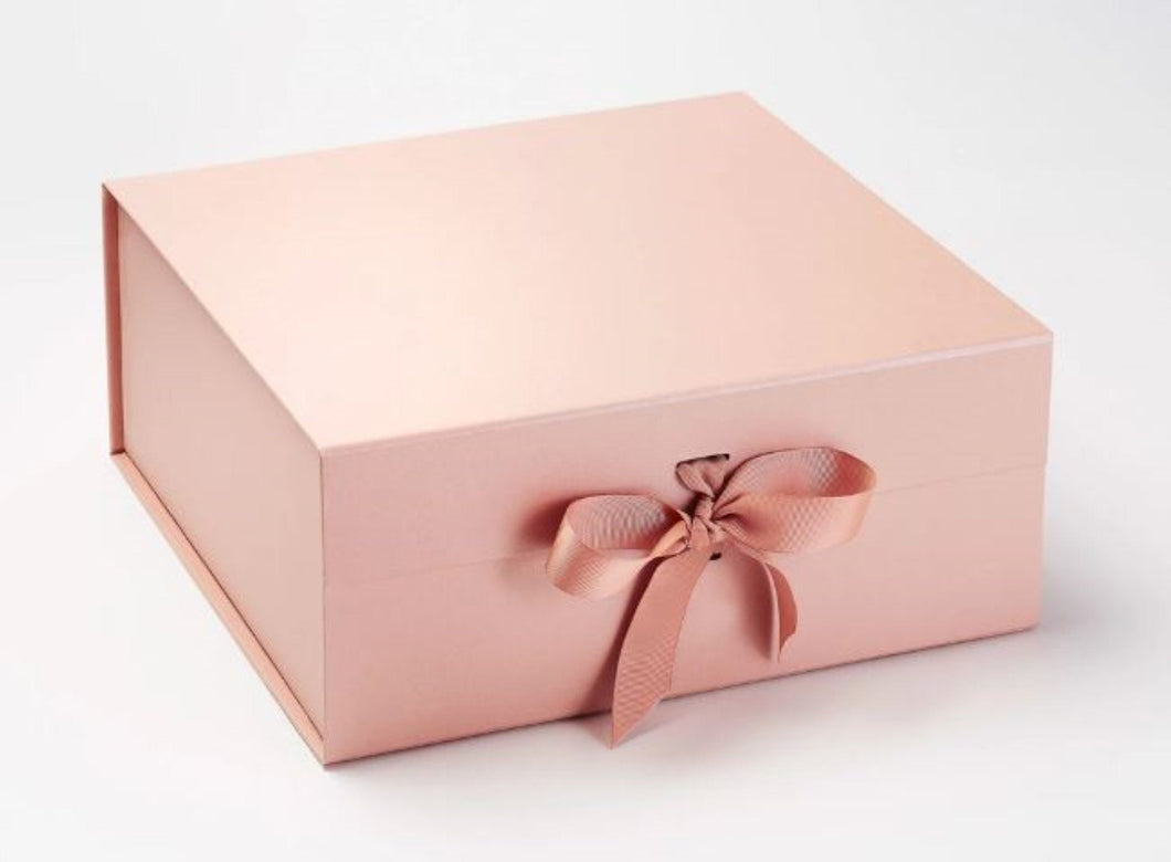 Rose Gold Extra Large Luxury Magnetic Gift Box with ribbon front