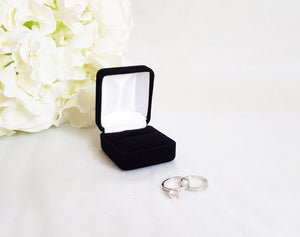 Black Velvet Single Ring Box - White Interior empty