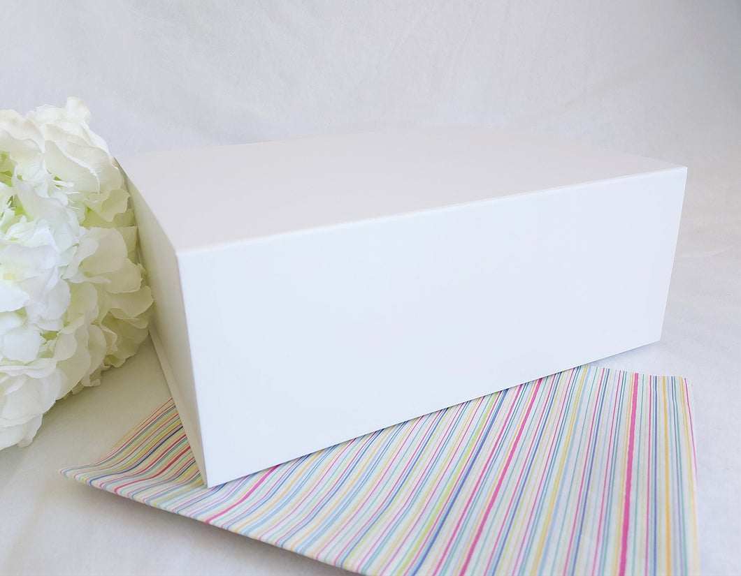 White Magnetic Gift Box front with stripy tissue paper