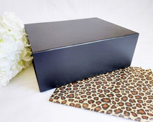 Load image into Gallery viewer, Black Magnetic Gift Box front with leopard tissue paper