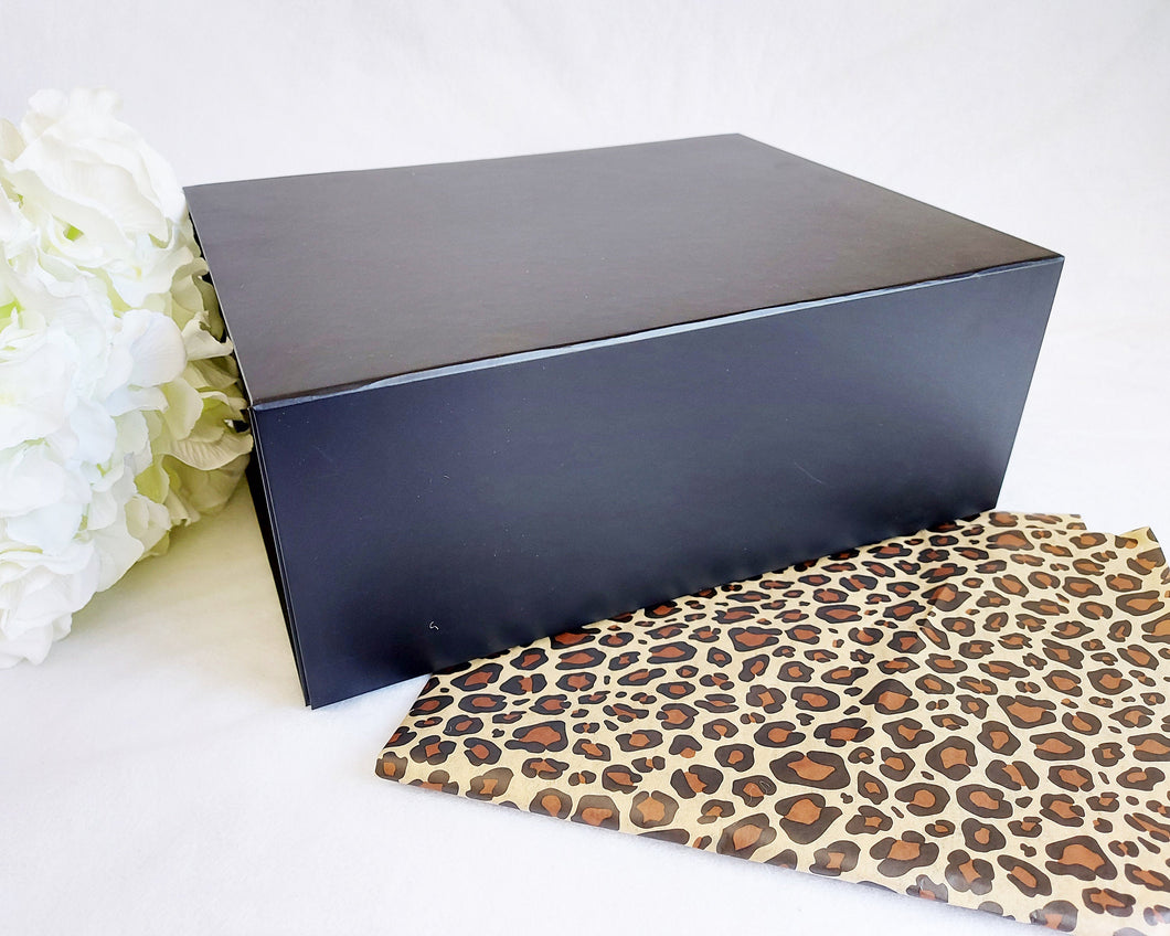 Black Magnetic Gift Box front with leopard tissue paper