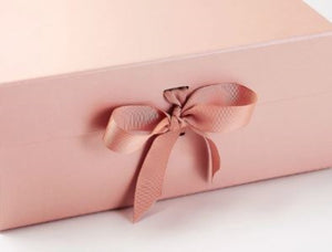 Rose Gold Extra Large Luxury Magnetic Gift Box with ribbon zoom
