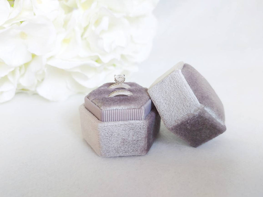 Grey Velvet Hexagonal Double Ring Box 1