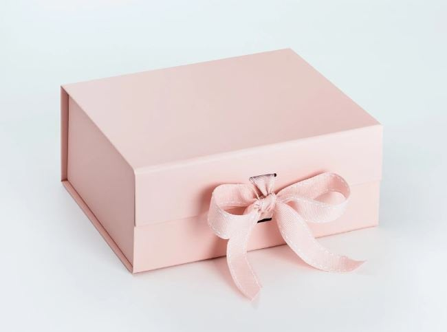 Pink A5 Luxury Magnetic Gift Box with Ribbon front