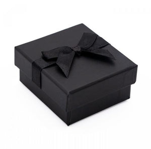 Black Card Ring Box with attached Satin Ribbon Bow and Foam Insert shut