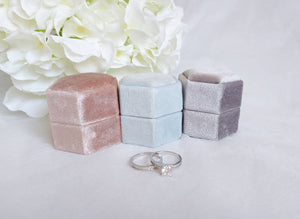 Grey Velvet Hexagonal Double Ring Box 6