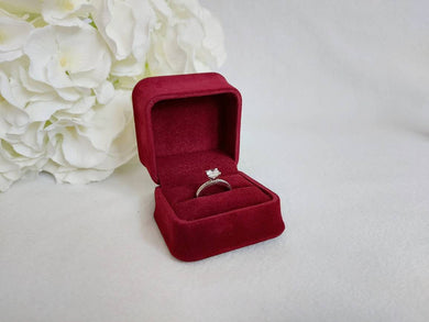 Red Luxury Suede Single Ring Box title