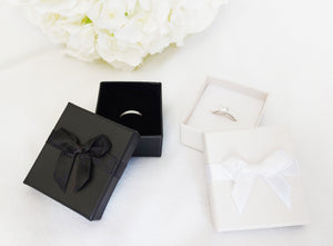 Black Card Ring Box with attached Satin Ribbon Bow and Foam Insert black and white