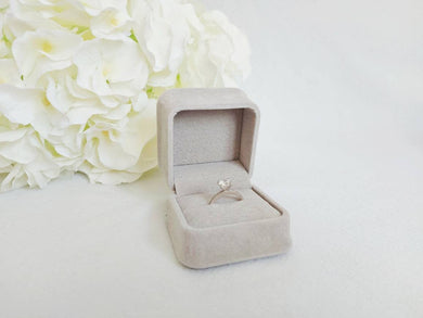 Grey Luxury Suede Single Ring Box title