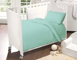 Egyptian Cotton Cot Bed Duvet Cover & Pillowcase Set : Duck Egg Blue