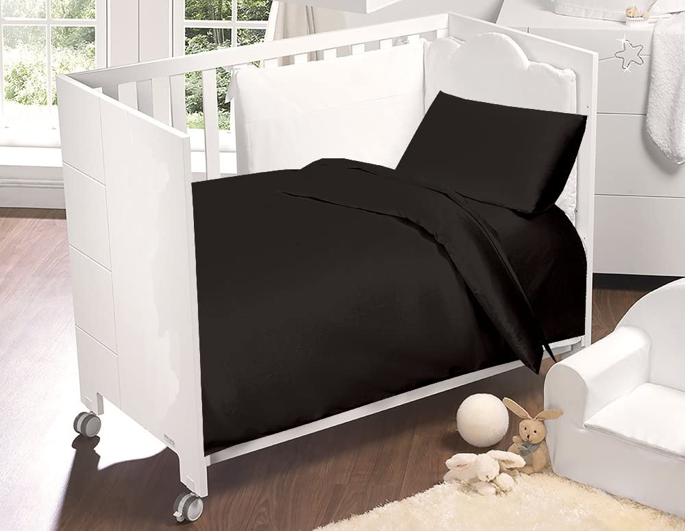 Cot Bed Duvet Cover and Pillow Set - Black
