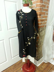double layered boho chic tunic dress, black color with embroidered red roses vine and 3/4th long sleeves.