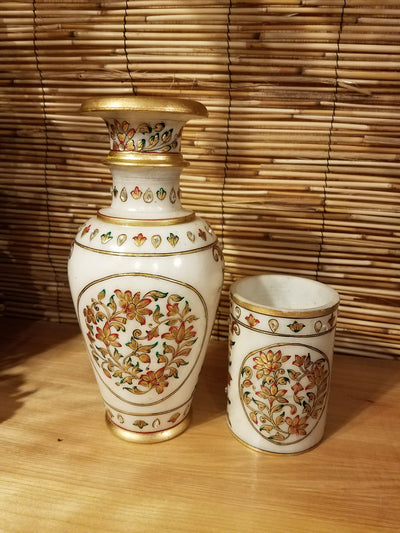 Vase Marble Gold Set of 2