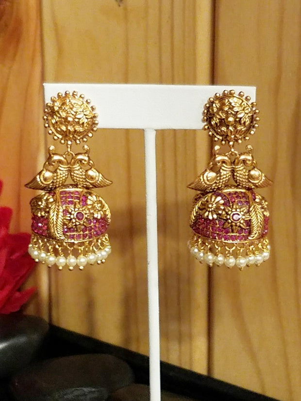 Earring Goldplated Peacock Ruby