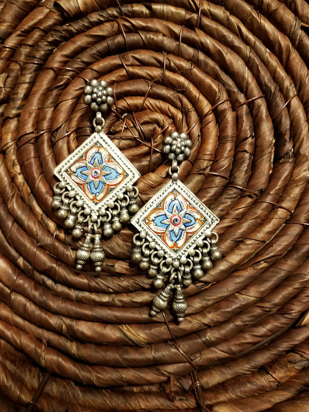 Earring Oxidized Yantra