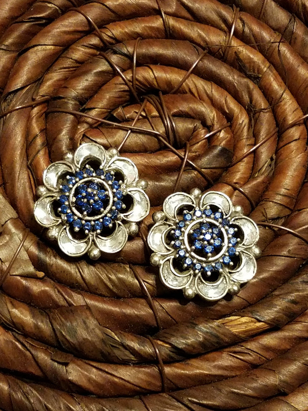 Earring Polki Flower Blue