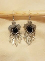 Earring Silver Plated Heart Black