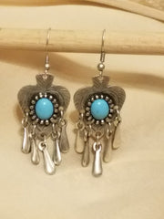 Earring Silver Plated Heart Blue