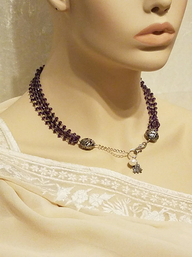 Necklace Gem 5 String Amethyst