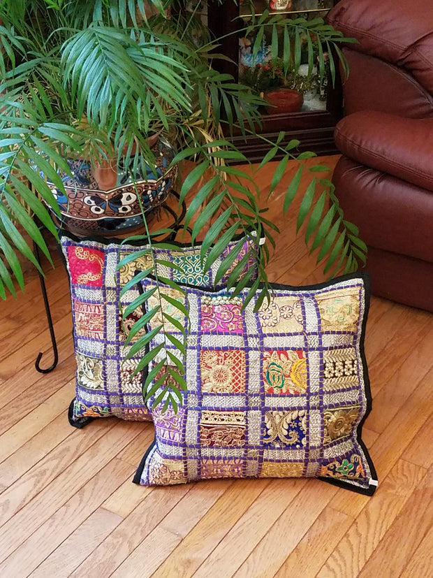 cushion covers, lace square purple, made from recycled festivity outfits, wedding outfits, beaded, shiny, handmade, India.