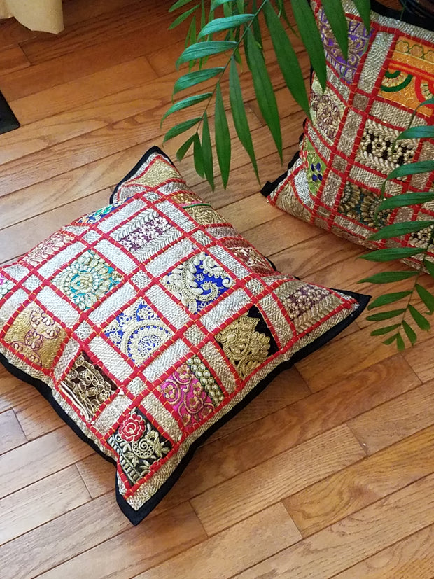 cushion covers, lace square red, made from recycled festivity outfits, wedding outfits, beaded, shiny, handmade, India.