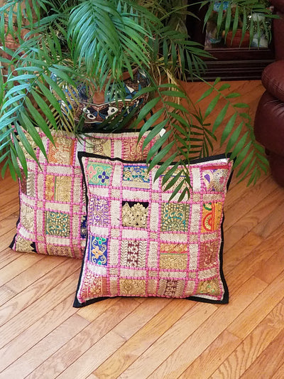 cushion covers, lace square pink, made from recycled festivity outfits, wedding outfits, beaded, shiny, handmade, India.
